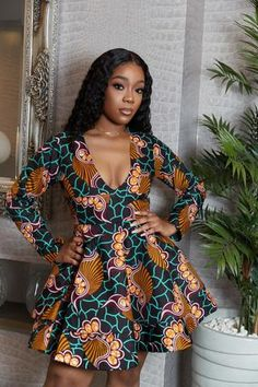 Flared mini Dress Fully Lined 20 inch Zip Fastening Long Sleeves Sleeve Length 22 inches . African Fashion Ankara, Latest African Fashion Dresses, African Dresses For Women, African Print Fashion, African Attire, Women's Fashion Dresses, African Style, Fashion Styles, African Outfits