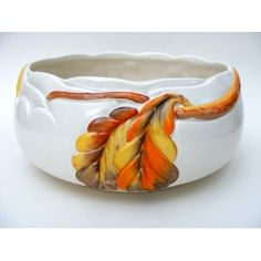 "Art Deco c.1937 Clarice Cliff Newport Pottery ""Chestnut"" Relief Pattern Salad/Fruit Bowl – 0000432"