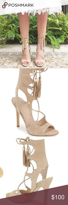 Marc Fisher 'Larsa' Lace Up Sandal Only worn once. Signs of wear. Scuffed on the bottoms. Still gorgeous sandal! Marc Fisher Shoes Sandals
