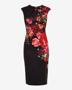 Juxtapose Rose dress - Black   Dresses   Ted Baker