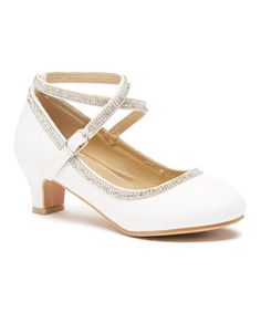 White Woven Ankle Buckle Dressy Shoe by Adorababy #zulily #zulilyfinds