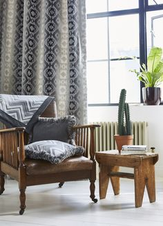 Our Arizona fabrics work in harmony with rustic style wooden furniture Arizona, Prestigious Textiles, Rich Home, Modern Prints, Wooden Furniture, Rustic Style, Textile Design, Accent Chairs, Upholstery