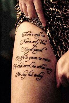 My new Rent tattoo. Work by Jason at Kustom Thrills,  Nashville, TN.