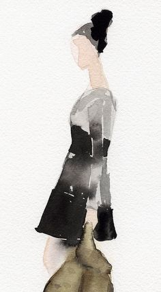 Fashion illustration by Beverly Brown, A Black And Gray Dress .