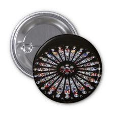 Stained-Glass Church Rose Window Pins #sold on #zazzle