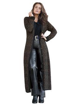 15ShopStop Women's Long Cranberry Plus Size Duster Cardigan 1X ...