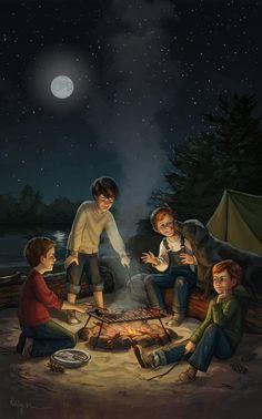 Campfire with the boys Cute Love Cartoons, Cute Cartoon, Cartoon Art, Anime Scenery Wallpaper, Cartoon Wallpaper, Aesthetic Art, Aesthetic Anime, Campfire Drawing, Painting Digital