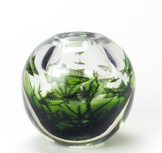 Edward Hald for Orrefors, second half of 20th Century A Graal 'Fish' Vase of almost globular shape, the heavy glass internally decorated with fish and aquatic foliage