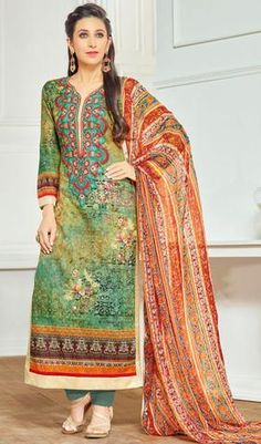 Green Marvelous Embroidered Suit In Pure Lawn Cotton