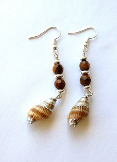 Sea Shell Dangle Earrings Beach Earrings by MermaidsBeachJewelry