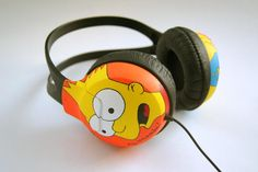 Custom hand painted headphones. Bart and Homer The by atelierChloe