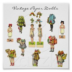 Vintage Paper Doll Poster from Zazzle.com