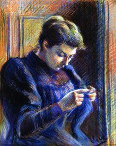 """Retrato de  Madame Berthier"" Dibujo pastel sobre papel  Maximilien Luce  (1858-1941) Pintor impresionista francés de París."
