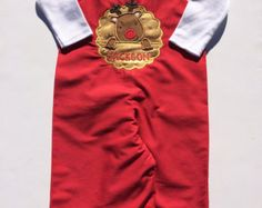 Baby Boys Personalized Christmas Outfit Rudolph Long Jon Jon - Toddler Christmas Outfit