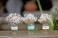 diy ribbon/button jars with babys breath