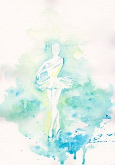 Turquise ballerina Ballet art illustration girl room decor children wall art ballerina decor dance original watercolor painting 8x11 via Etsy