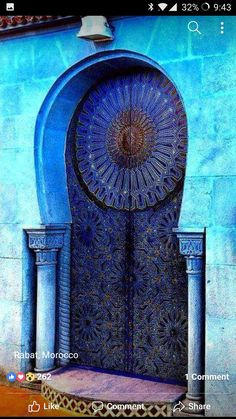 Blue Door and Entrance in Rabat, Morocco Cool Doors, Unique Doors, The Doors, Entrance Doors, Windows And Doors, Grand Entrance, Knobs And Knockers, Door Knobs, Islamic Architecture