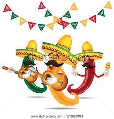 Jalapeno Clip Art | Cinco De Mayo Mariachi jalapeno band with guitar and maracas EPS 10 ...