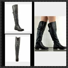 """Steve madden  OTK leather over the knee boots Black real leather upper, sz 9.5 about 21"""" full shaft from heel. Excellent  condition Steve Madden Shoes Over the Knee Boots"""