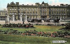 Buckingham Palace ~ An unusual colourised photograph of Buckingham Palace showing the old facade which was replaced in 1913. There is no sign of the Queen Victoria Memorial so this photo predates 1913.