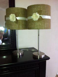 Burlap lampshades.