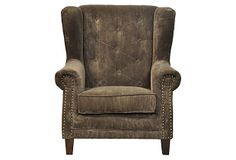 Freemont Wing Chair, Mocha on OneKingsLane.com The casual corduroy fabric livens this traditional piece. It could work well with a more modern but full bodied couch.