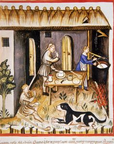 Making White Cheese, Tacuinum Sanitatis (ÖNB Codex Vindobonensis, series nova 2644), c. 1370-1400