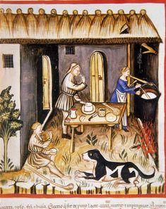Making white cheese, Tacuinum Sanitatis (ÖNB Codex Vindobonensis, series nova 2644), c. 1370-1400