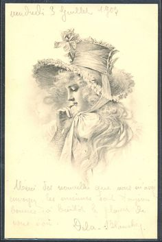 PG004 MM VIENNE Nr100 BEAUTIFUL LADY in PROFILE Long HAIR Large HAT 1903