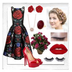 """""""Roses Are Red"""" by kayleigh-zz ❤ liked on Polyvore featuring Polaroid, Chi Chi, Christian Louboutin, Nearly Natural and Bling Jewelry"""