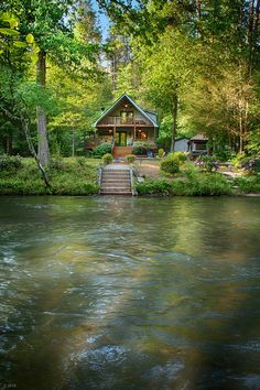 Trout hit the top water as the sun rays cut through the creek. Blue Ridge Log Cabins, Cabins In The Woods, House In The Woods, House Near River, Cabin Homes, Log Homes, Beautiful Homes, Beautiful Places, Forest House