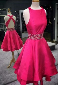 A line Rose Homecoming Dress,Short Party Dress,Knee Length Graduation Dress,Beading Homecoming Dresses,Backless Homecoming Dress