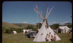 Kids outside tipi' ~ (Cree/Saulteaux/Dakota) ~ Qu'Appelle Valley, Sask 1958