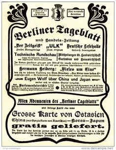 Original-Werbung/ Anzeige 1898 - BERLINER TAGEBLATT - ca. 140 x 180 mm