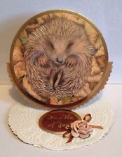Hand made round new baby easel style card, cute hedgehog theme