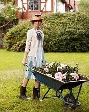 This is exactly what I look like when I garden.  I WISH! I have holey yoga pants, old 5K t-shirts, and huge farm muck boots with giant sunglasses and a sloppy ponytail.  :)