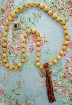 Yellow Stone Tassel Necklace by ShopElectricBuffalo on Etsy