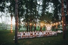 Beautiful outdoor wedding ideas with lots of fairy lights, wild flowers and simple furniture. Visit Hitched for more outdoor and rustic wedding ideas. Outdoor Wedding Reception, Wedding Ceremony, Rustic Wedding, Wedding Venues, Wedding Ideas, Wedding Decorations, Wedding Inspiration, Fancy Wedding Cakes, Wedding Website