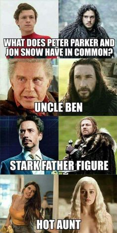 Geek Discover Game Of Thrones Memes 2019 - What Does Peter Parker and Jon Snow Have In Common Avengers Humor Marvel Jokes Funny Marvel Memes Funny Funny Jokes Hilarious Nerd Funny Best Funny Photos Funny Pictures Avengers Humor, Marvel Jokes, Funny Marvel Memes, 9gag Funny, Funny Games, Hilarious, Nerd Funny, Funny Humor, Game Of Thrones Witze