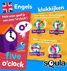Klokkijken en tijdsaanduiding in het Engels is net even anders dan in het Nederlands. In de plaats van 'half 6', zeg je bijvoorbeeld 'half over 5', maar dan in het Engels uiteraard. Hoe het precies werkt lees je in de infographic over klokkijken in het Engels.