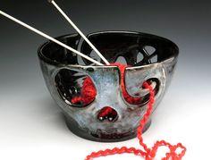 Skull Yarn Bowl for Knitting, Stoneware Fruit Bowl