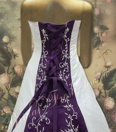 white wedding dress with a purple train - Google Search
