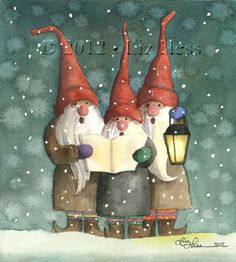 "CAROLING GNOMES Watercolor by Liz Hess (<a href=""http://www.lizhess.com"" rel=""nofollow"" target=""_blank"">www.lizhess.com</a>)"