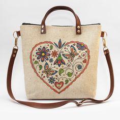 Ľudová kabelka so srdcom a vtáčikmi Burlap, Reusable Tote Bags, Hessian Fabric, Jute, Canvas