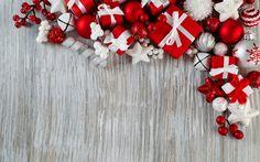Download imagens decorações de natal, 4k, presentes, Feliz Ano Novo, Feliz Natal, madeira de fundo, vermelha decorações, natal, Ano Novo