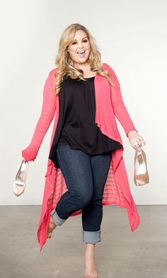 Sam rocking @SWAK Designs Plus Size Fashion   I Jamie Knit Cardigan and Pretty Cami in Bouquet Shades