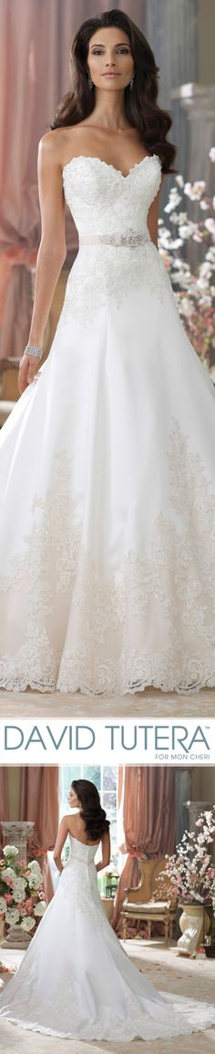 Style No. 214203 ~ Nastia, Wedding Dresses 2014 Collection – Strapless corded lace, tulle and tiara satin A-line wedding dress with sweetheart neckline, curved back bodice, hand-beaded corded lace bodice features tulle natural waistband accented with three-dimensional flower motifs and jeweled beading, skirt features tulle hemline with matching lace appliqués and beaded accents that adorn chapel length train, detachable spaghetti and halter straps included. #weddingdresses #weddingdress