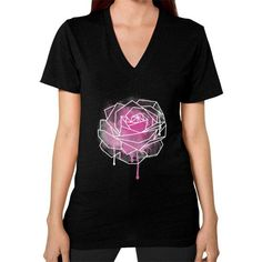 Watercolor Rose Geometric V-Neck (on woman)