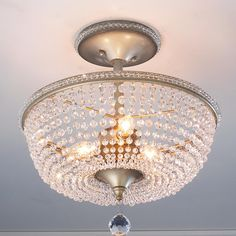 Crystal Basket Semi Flush Ceiling Light