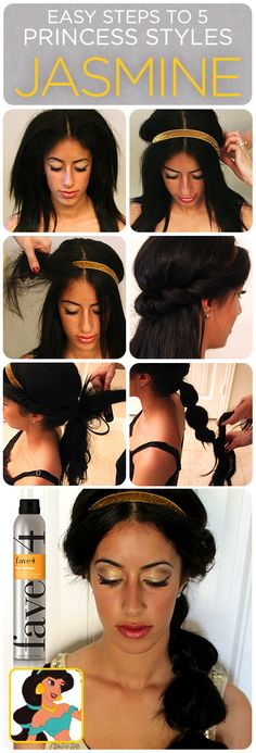 Jasmine's hair how-to! Halloween hair DIY. Disney Princess Jasmine.